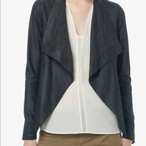 Vince genuine leather drape front jacket